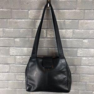 St John's Bay Vintage Black Leather Shoulder Bag